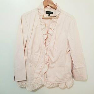 Talbots Pale Pink Ruffle Front Jacket Size 16